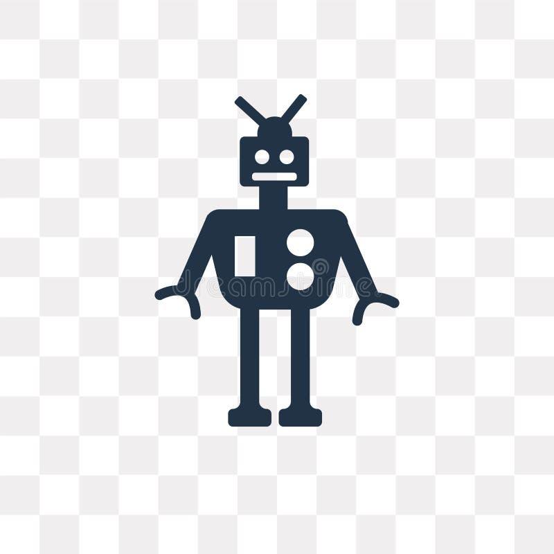 Ícone militar do vetor da máquina do robô isolado no backg transparente ilustração stock
