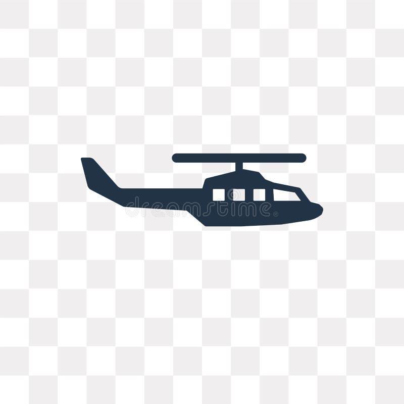 Ícone militar do vetor do helicóptero isolado no backgrou transparente ilustração do vetor