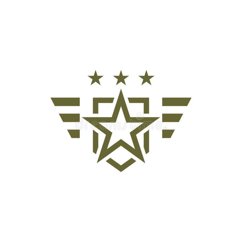 Ícone militar no fundo branco Símbolo armado Emblema do soldado com estrela Logotipo do exército ilustração royalty free