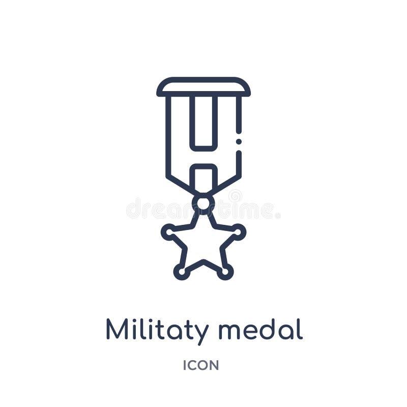 Ícone militaty linear da medalha da coleção do esboço do exército e da guerra Linha fina vetor militaty da medalha isolado no fun ilustração royalty free