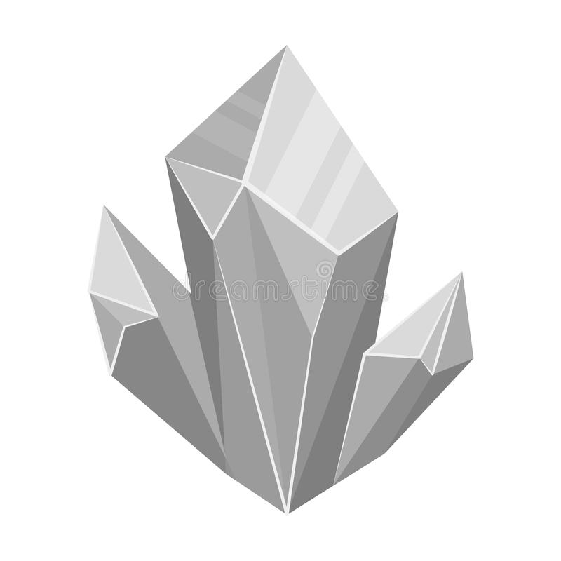 Ícone mineral natural azul no estilo monocromático isolado no fundo branco Minerais e estoque preciosos do símbolo do joalheiro ilustração do vetor