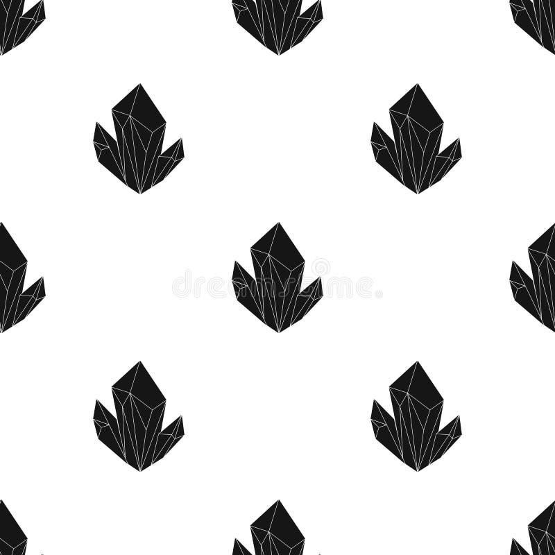 Ícone mineral natural azul no estilo preto isolado no fundo branco Minerais preciosos e vetor do estoque do símbolo do joalheiro ilustração royalty free