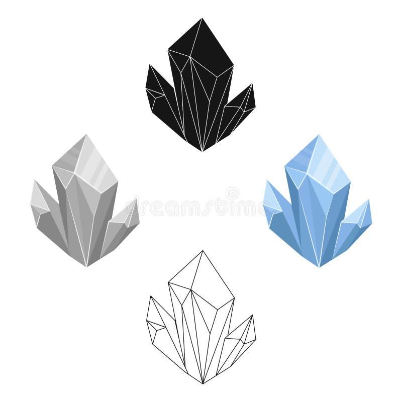 Ícone mineral natural azul nos desenhos animados, estilo preto isolados no fundo branco Minerais preciosos e s?mbolo do joalheiro ilustração stock
