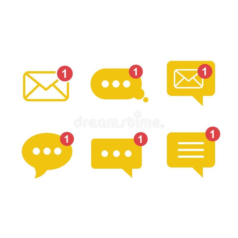 Ícone minimalista liso simples do vetor do app das mensagens entrantes com notificação ilustração stock