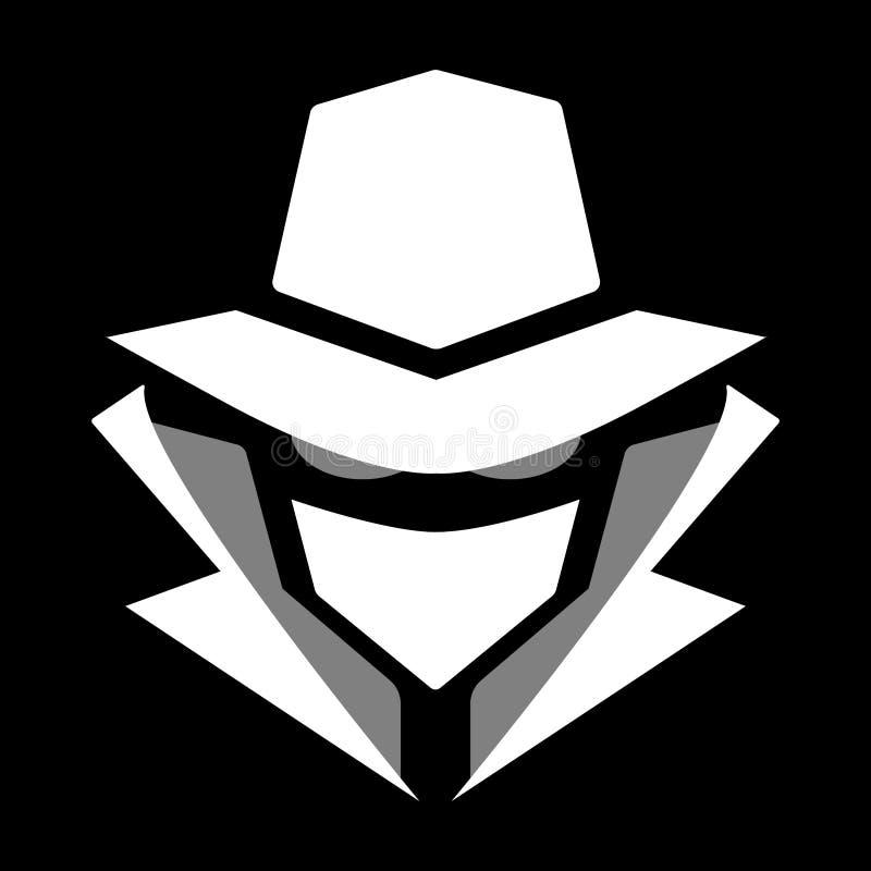 Ícone misterioso do hacker de computador Não o tomarão ao veterinário Isolado no preto ilustração do vetor