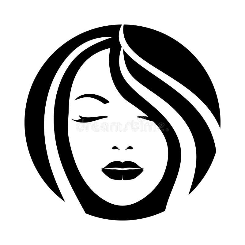Ícone modelo da cara do cabelo da mulher ilustração stock