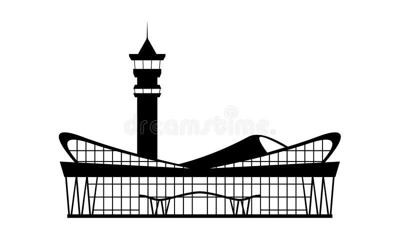 Ícone moderno contínuo da construção terminal de aeroporto Símbolo liso isolado do projeto para o projeto do bilhete Ilustração d ilustração royalty free