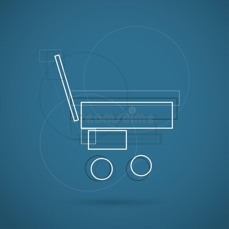 Ícone moderno da cor do trole da compra para a Web Símbolo criativo novo do projeto ilustração stock