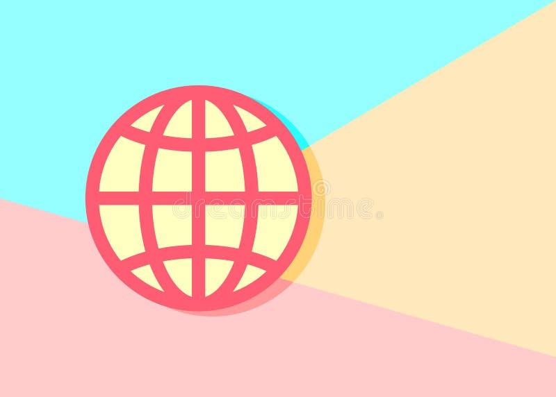 ícone moderno do planeta do globo do trand no fundo azul e cor-de-rosa ilustração do vetor
