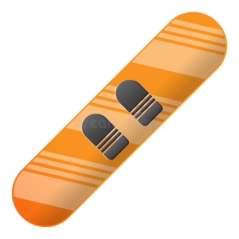 Ícone moderno do snowboard, estilo dos desenhos animados ilustração stock