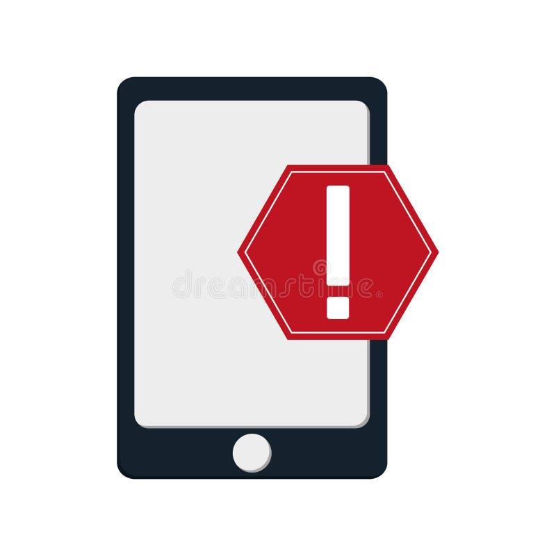 Ícone moderno do telefone celular e do sinal de aviso ilustração do vetor