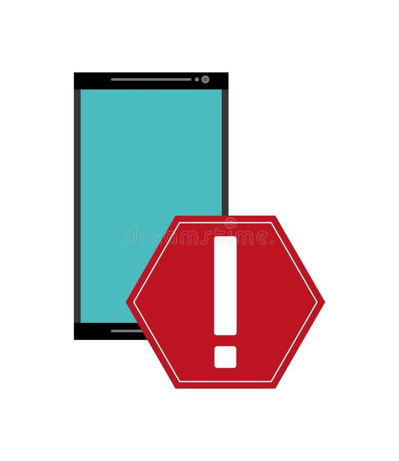 Ícone moderno do telefone celular e do sinal de aviso ilustração stock