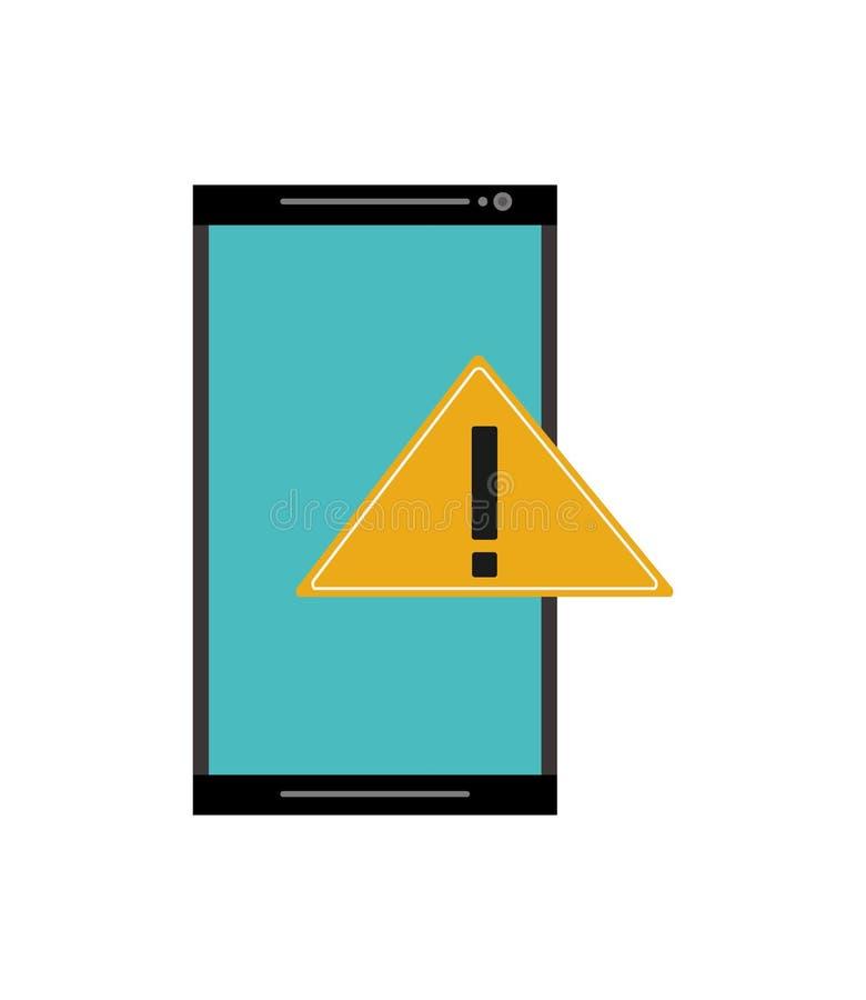 Ícone moderno do telefone celular e do sinal de aviso ilustração royalty free
