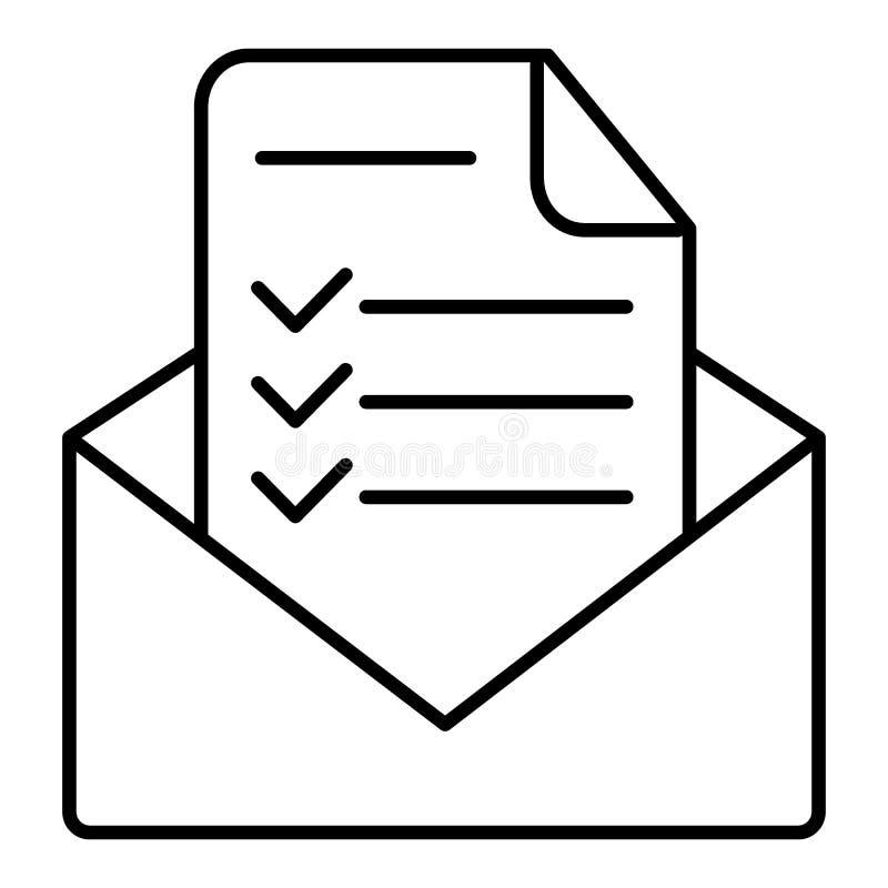 Ícone moderno do vetor da letra da confirmação, de original aprovado e da linha lisa símbolo da lista de verificação do email do  ilustração royalty free