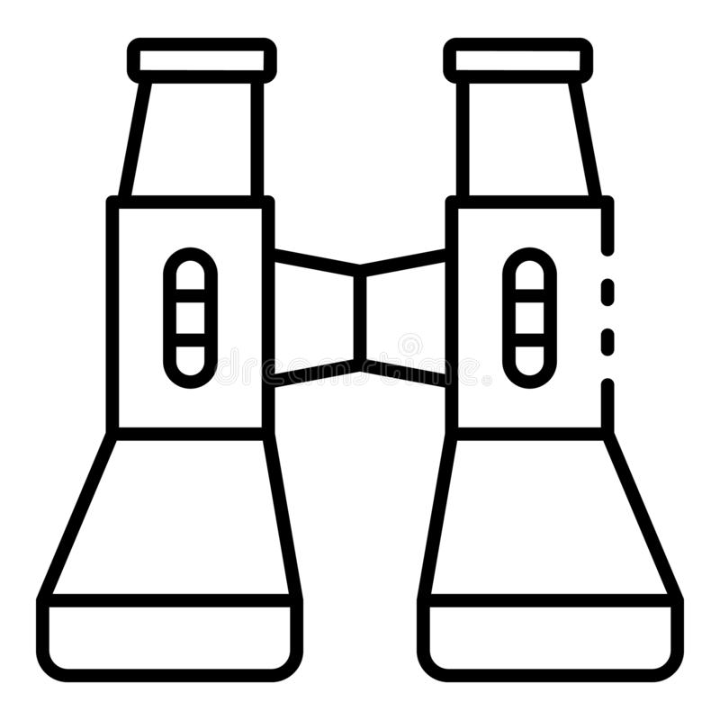 Ícone moderno dos binóculos, estilo do esboço ilustração stock