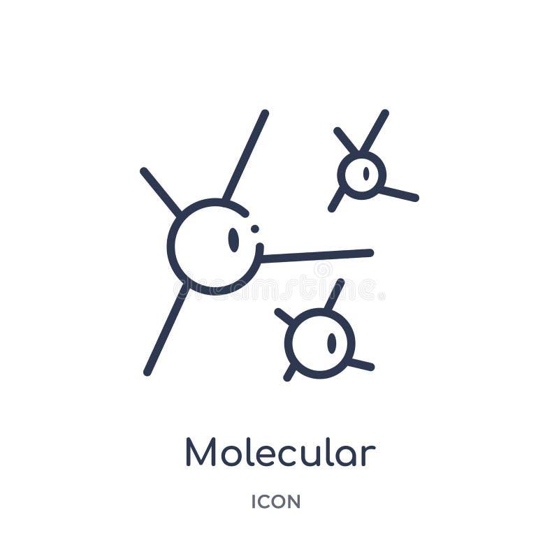 Ícone molecular linear da coleção do esboço da química Linha fina vetor molecular isolado no fundo branco na moda molecular ilustração stock