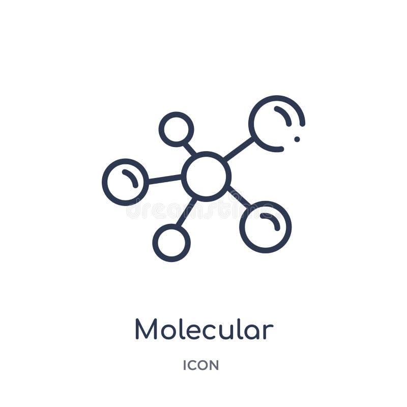 Ícone molecular linear da configuração da coleção médica do esboço Linha fina ícone molecular da configuração isolado no branco ilustração do vetor