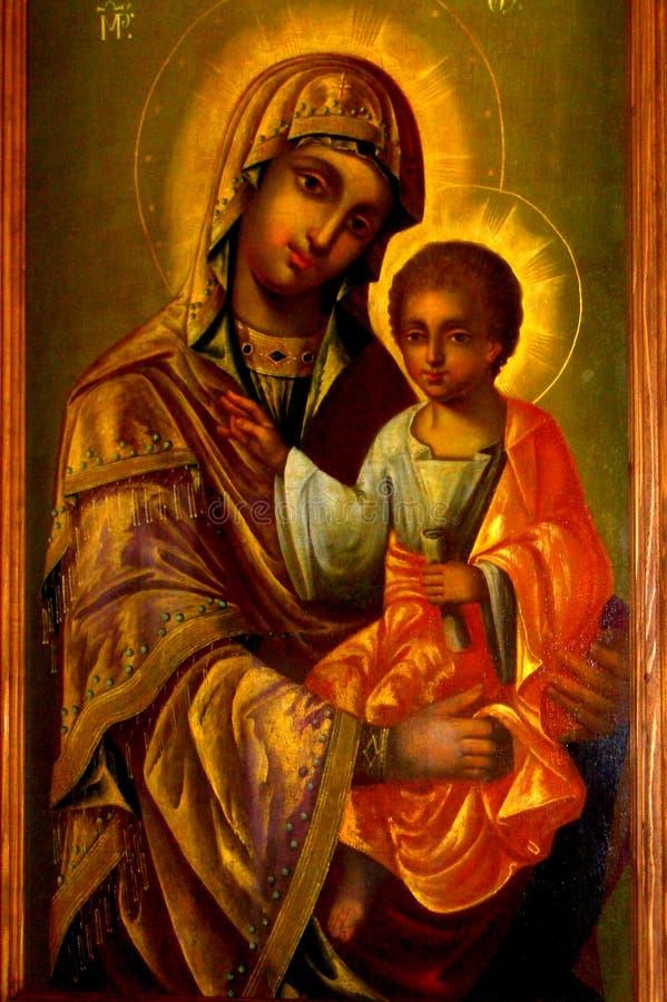 ícone Monastério de Probota, monastério ortodoxo medieval em Moldávia, Romênia fotografia de stock royalty free