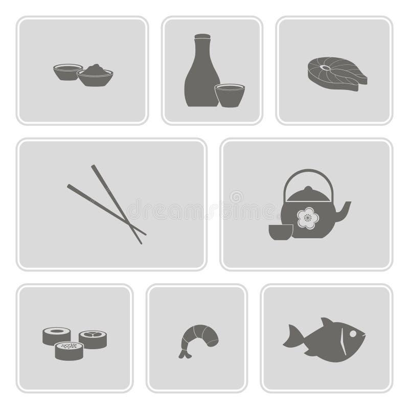 Ícone monocromático ajustado com sushi e causa ilustração stock