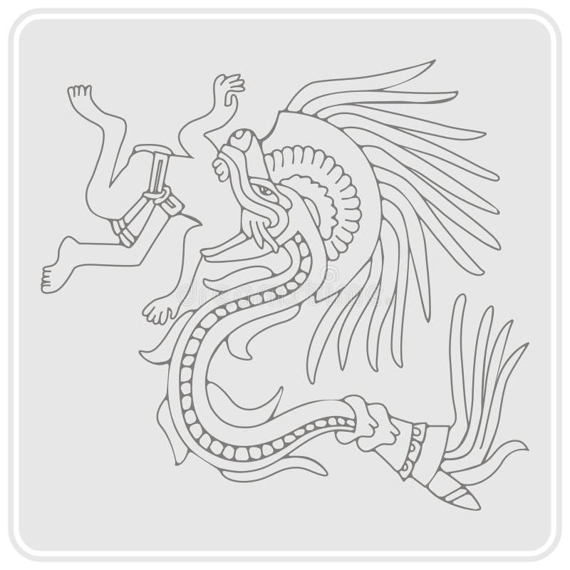 Ícone monocromático com símbolos dos códices astecas ilustração do vetor