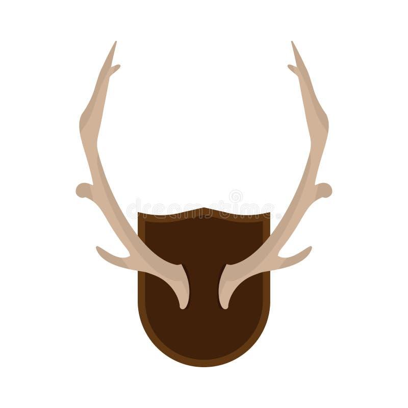 Ícone montado do vetor da cremalheira dos cervos da caça dos animais selvagens do chifre dos chifres Osso animal do crânio da sil ilustração stock