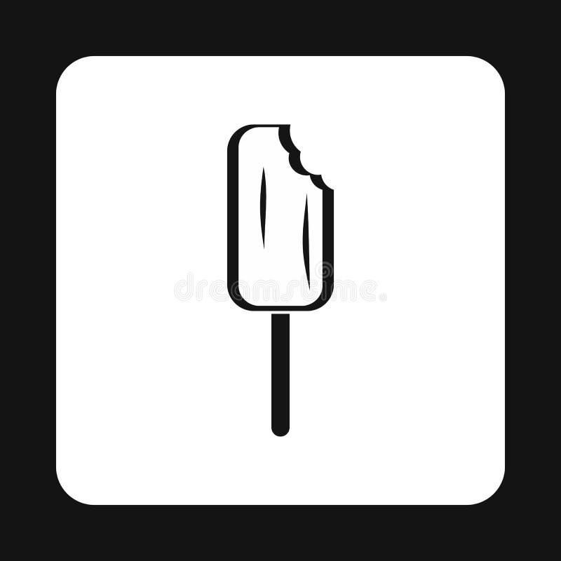 Ícone mordido do gelado, estilo simples ilustração do vetor