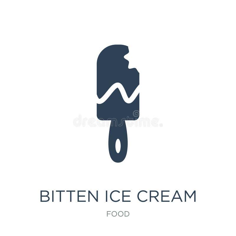 ícone mordido do gelado no estilo na moda do projeto ícone mordido do gelado isolado no fundo branco ícone mordido do vetor do ge ilustração do vetor