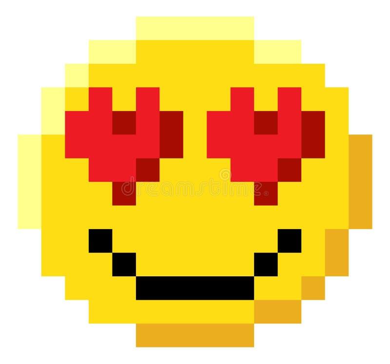 Ícone mordido do jogo de vídeo da arte 8 do pixel da cara do Emoticon ilustração do vetor