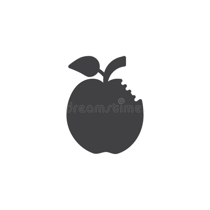 Ícone mordido do vetor da maçã ilustração royalty free