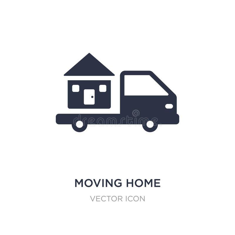 ícone movente da casa no fundo branco Ilustração simples do elemento do conceito do transporte ilustração do vetor