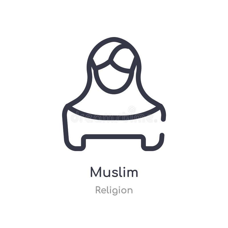ícone muçulmano do esboço linha isolada ilustra??o do vetor da cole??o da religi?o ícone muçulmano do curso fino editável no bran ilustração royalty free