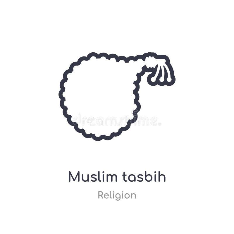 ícone muçulmano do esboço do tasbih linha isolada ilustra??o do vetor da cole??o da religi?o ícone muçulmano do tasbih do curso f ilustração royalty free