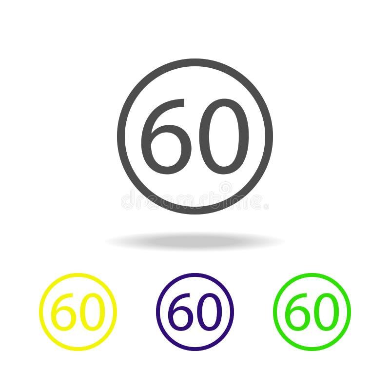 ícone multicolorido da limitação 60 Elemento de ícones da Web Sinais e ícone para Web site, design web dos símbolos, app móvel no ilustração royalty free