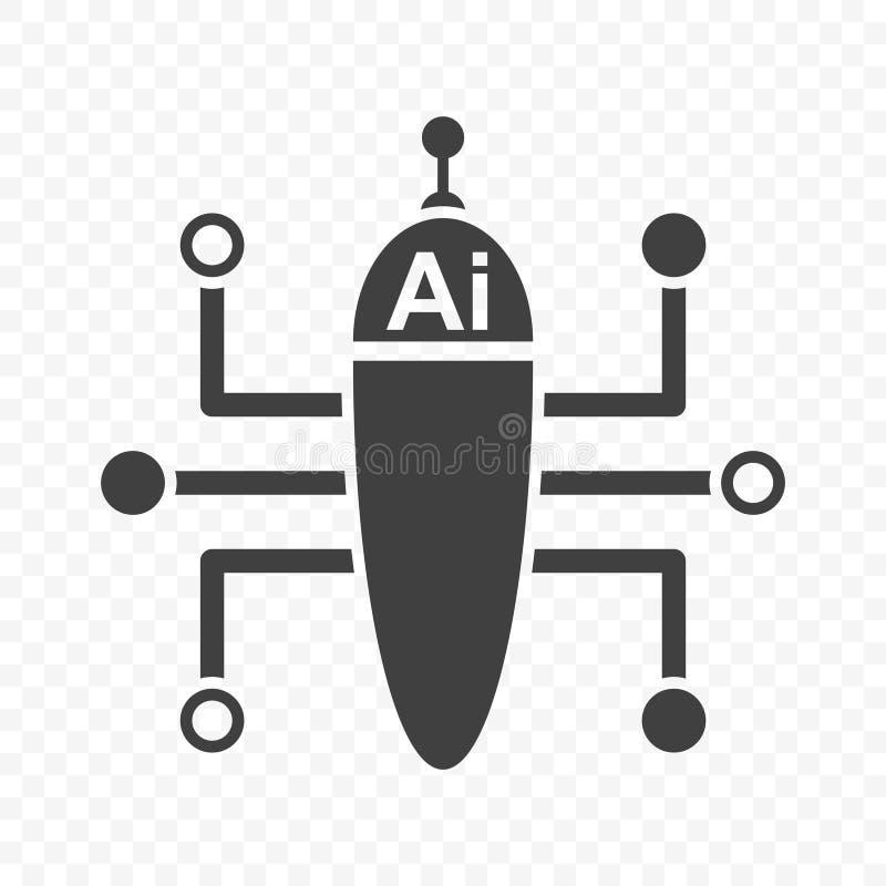 Ícone multifuncional da inteligência artificial Imagem de Minimalistic de um robô a multitarefas Vetor no fundo transparente ilustração do vetor