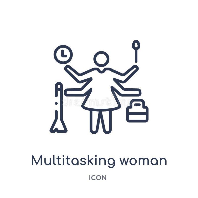 Ícone a multitarefas linear da mulher da coleção do esboço do negócio Linha fina ícone a multitarefas da mulher isolado no fundo  ilustração royalty free
