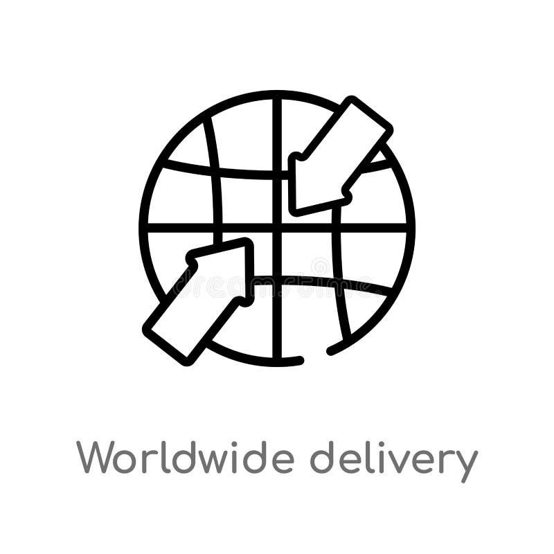 ícone mundial do vetor da entrega do esboço linha simples preta isolada ilustração do elemento do conceito da entrega e da logíst ilustração royalty free