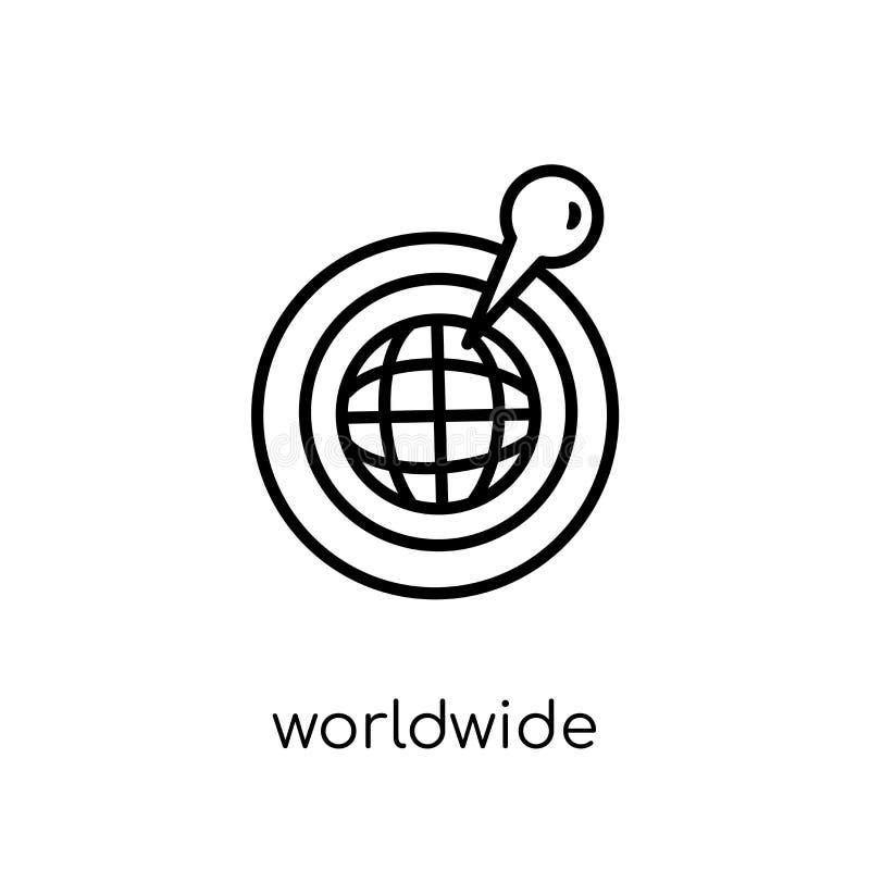 Ícone mundial Ícone mundial do vetor linear liso moderno na moda ilustração do vetor