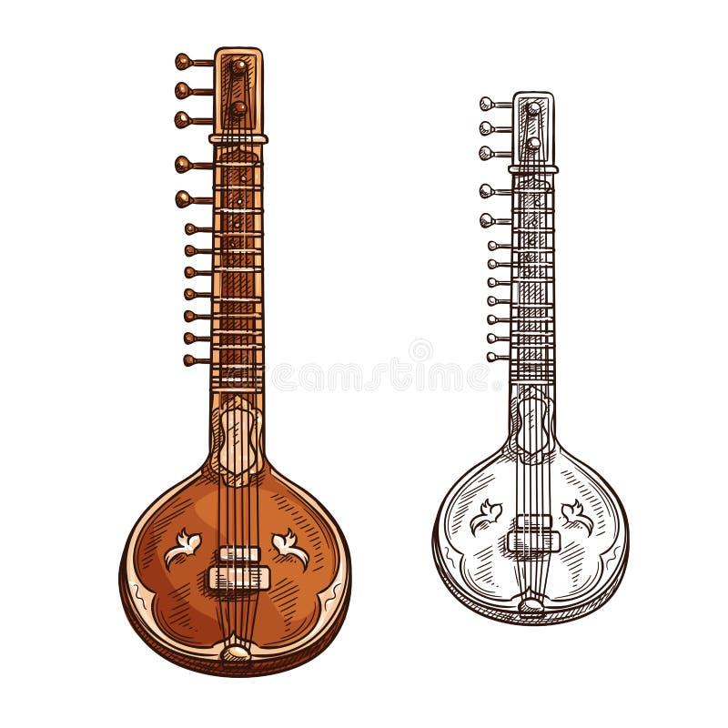 Ícone musical do insturment do sitar do esboço do vetor ilustração stock