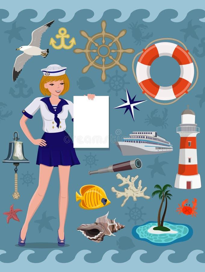 Ícone náutico ajustado, imagens do cruzeiro Elementos do projeto do vetor ilustração royalty free