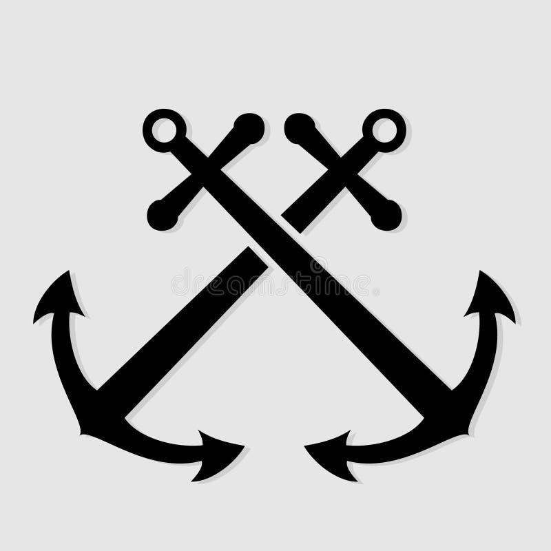 Ícone náutico cruzado das âncoras ilustração royalty free