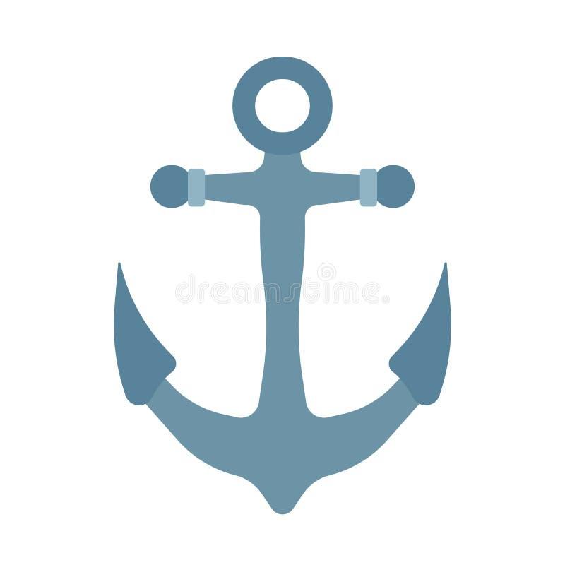Ícone náutico do vetor do mar da âncora do navio Barco da ilustração da água do oceano Elemento de direção velho do equipamento d ilustração do vetor