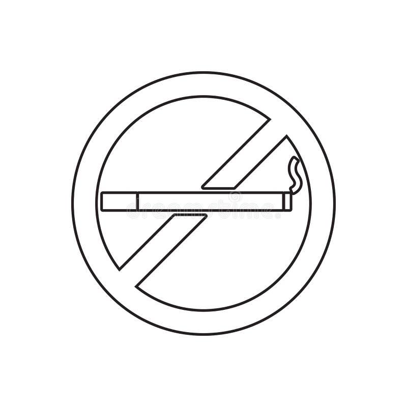 Ícone não fumadores Elemento do conceito do guardfor do fogo e do ícone móveis dos apps da Web Esboço, linha fina ícone para o pr ilustração stock