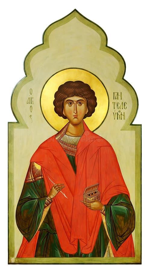 Ícone na madeira de Saint Pantaleon (Panteleimon) fotos de stock royalty free