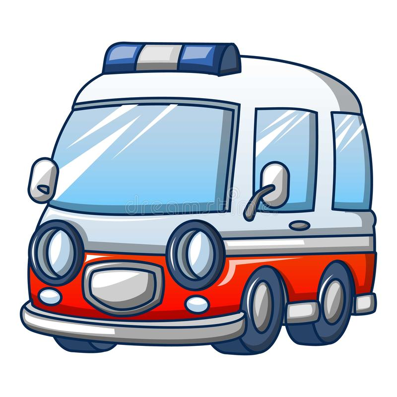 Ícone na moda da ambulância, estilo dos desenhos animados ilustração stock
