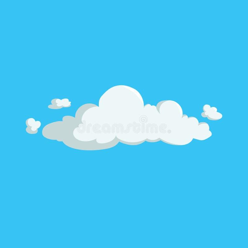 Ícone na moda do projeto da nuvem macia bonito dos desenhos animados Ilustração do vetor do fundo do tempo ou do céu ilustração stock