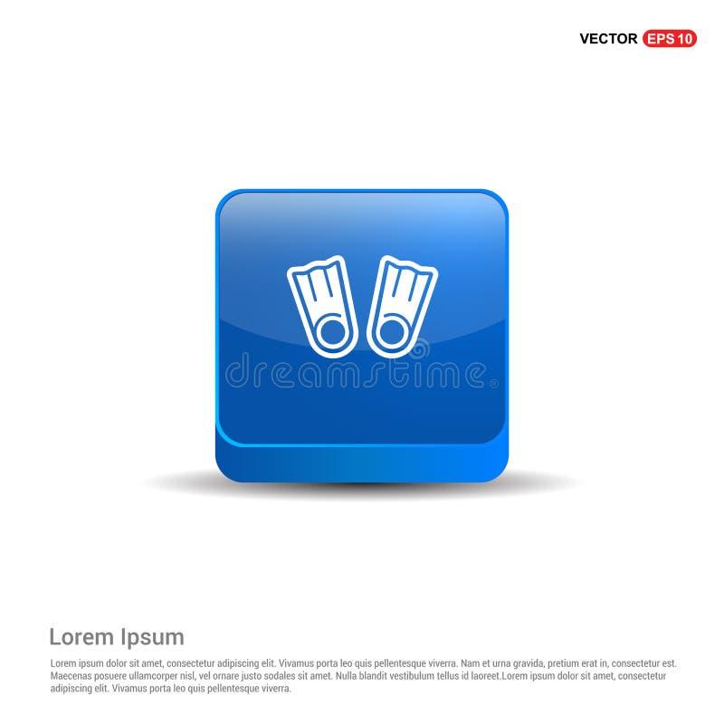 Ícone nadador das aletas - botão 3d azul ilustração royalty free