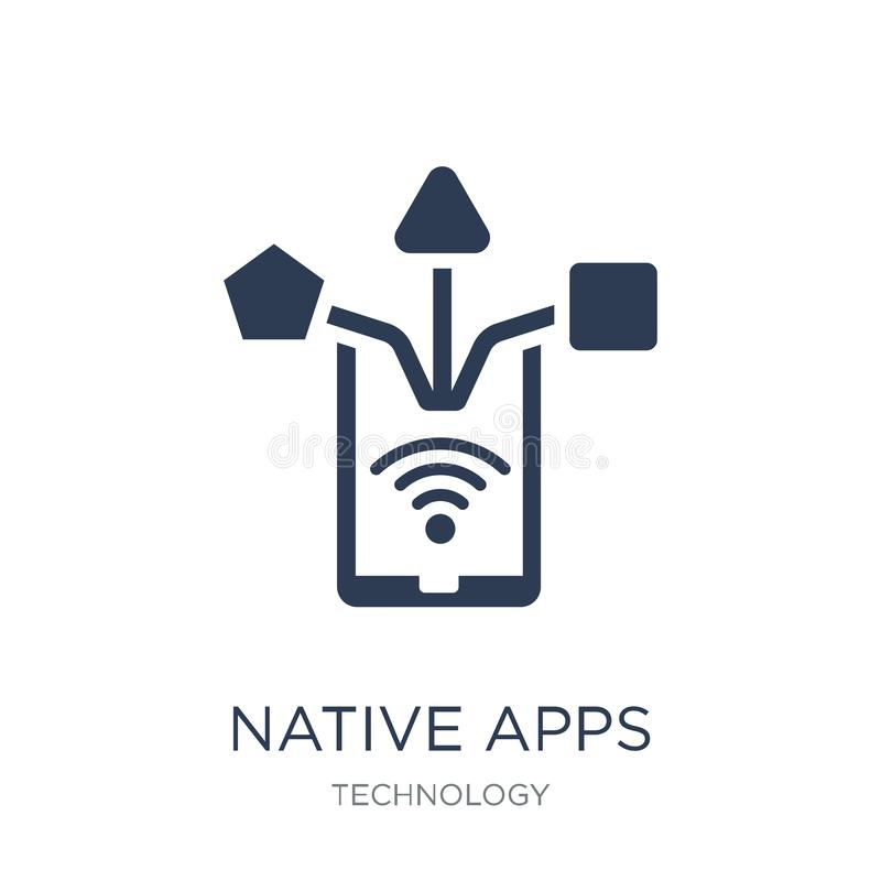 Ícone nativo dos apps Ícone nativo dos apps do vetor liso na moda em b branco ilustração royalty free
