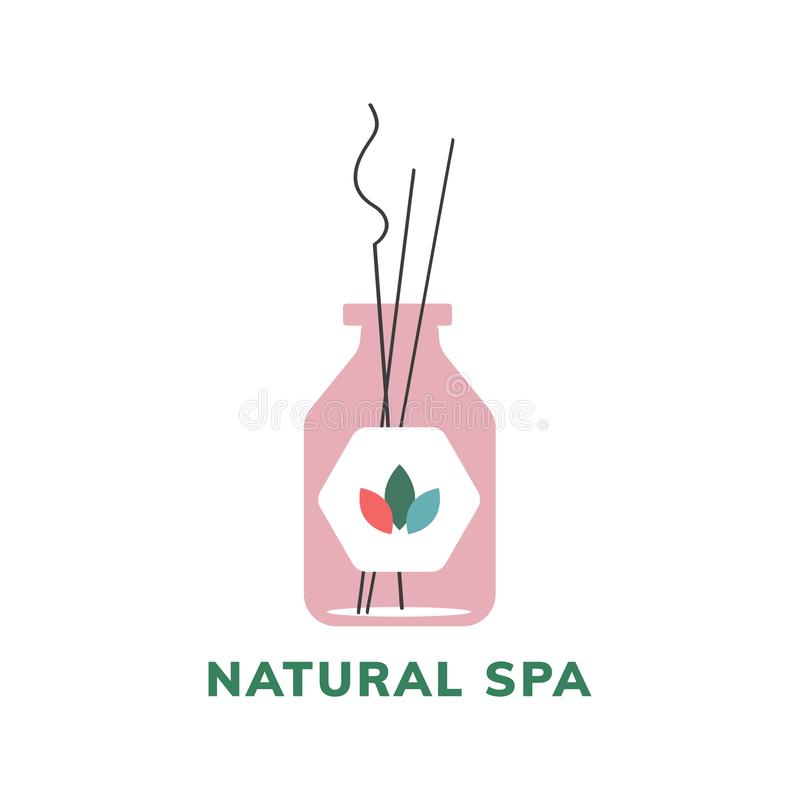 Ícone natural do logotipo do produto dos termas ilustração stock