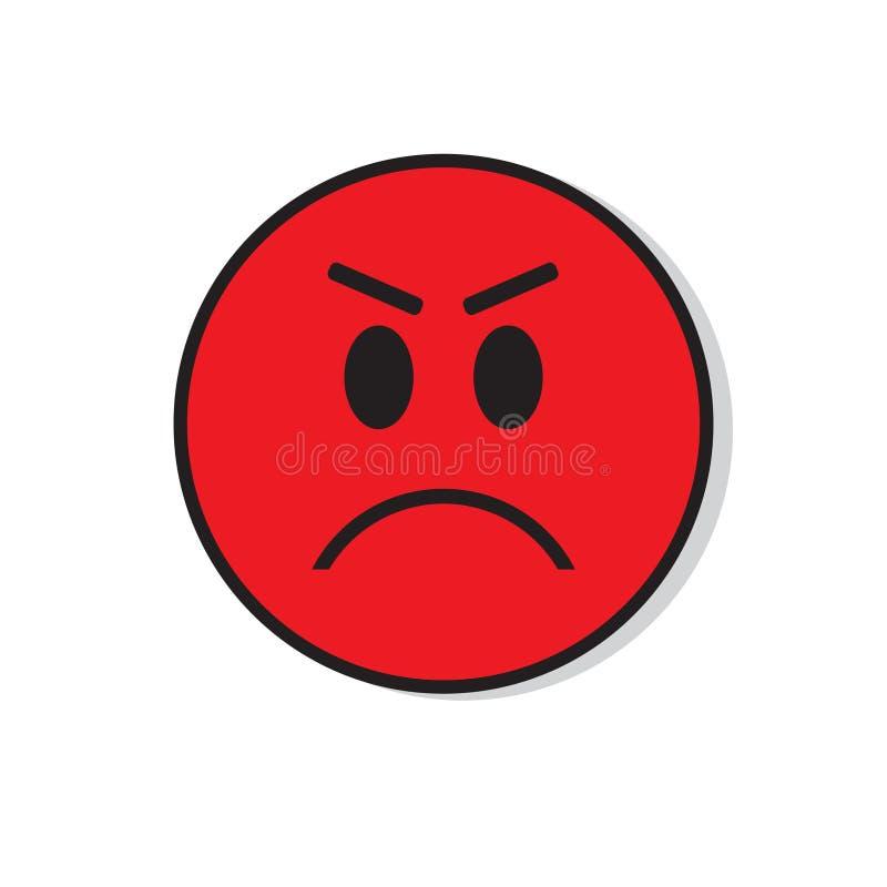 Ícone negativo da emoção dos povos da cara triste irritada vermelha ilustração royalty free