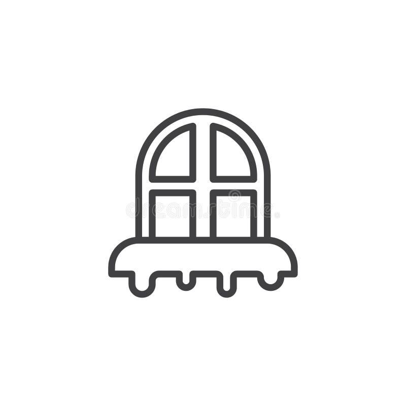 Ícone nevado do esboço da janela ilustração stock